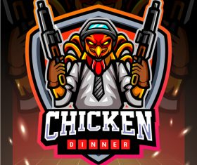 Chicken dinner game emblem design vector