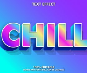 Chill words and fonts 3d text style vector