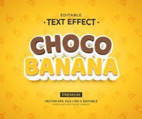 Choco banana text effect vector