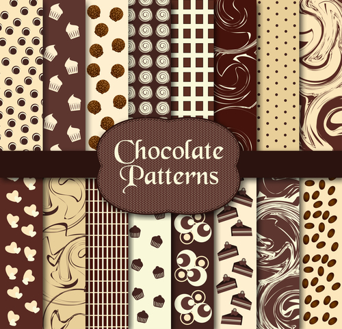 Chocolate seamless pattern set background vector