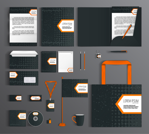 Classic black cover corporate identity stationery collection vector