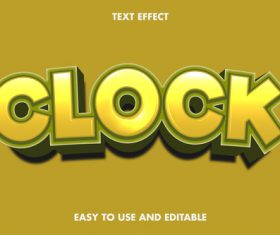 Clock 3d text style effect vector