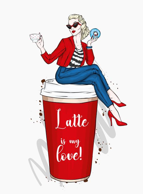 Coffee advertising girl vector