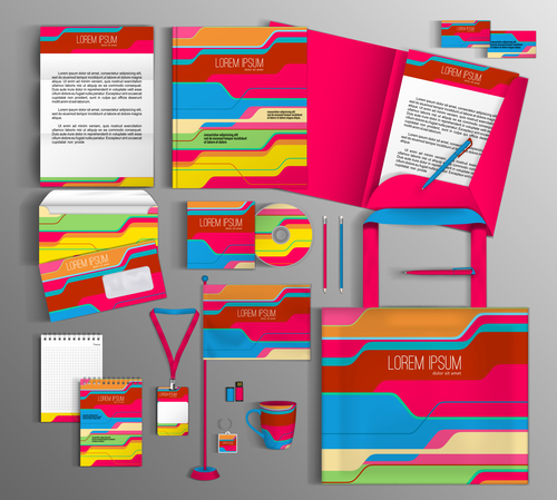 Color abstract cover corporate identity stationery collection vector
