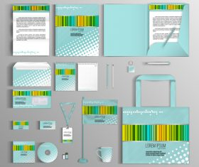 Color barcode cover corporate identity stationery collection vector