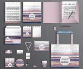 Color dot cover corporate identity stationery collection vector