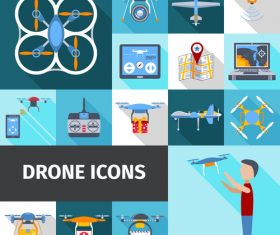Color drones vector icons