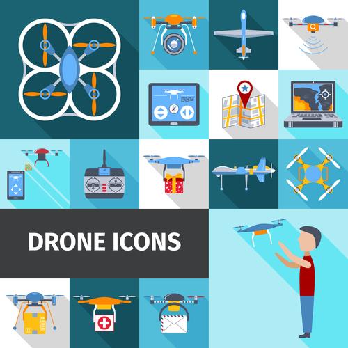 Color drones vector icons
