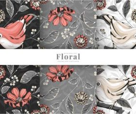 Colorful birds floral pattern vector