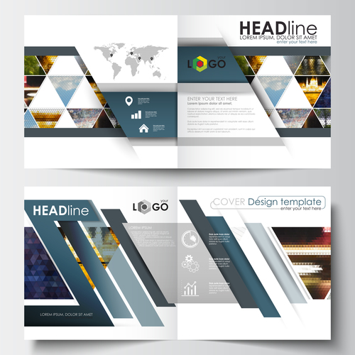 Colorful cover brochure design template vector