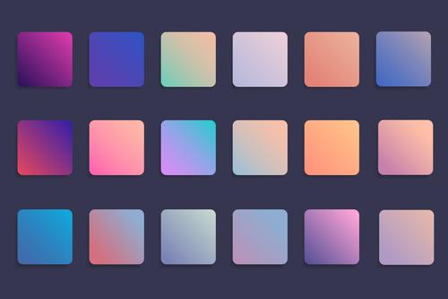Colorful gradient badge set vector