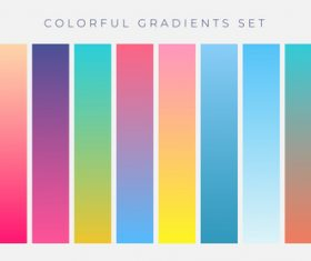 Colorful set vibrant gradients vector illustration