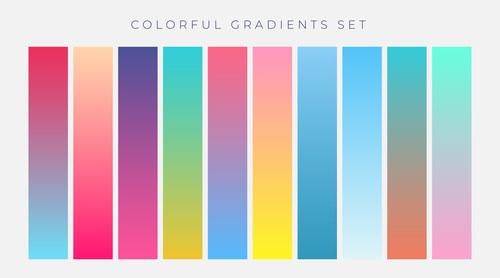 Colorful set vibrant gradients vector illustration