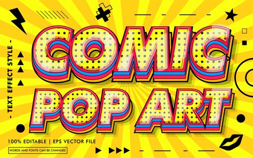 Comic pop art text style vector