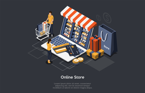 Concept vector for online store shopping