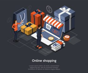 Concept vector of mobile shopping