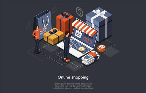 Concept vector of mobile shopping