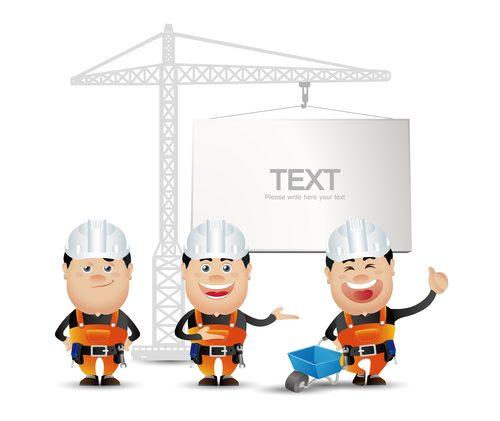 Construction worker cartoon vector