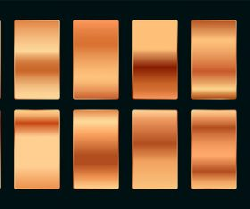 Copper rose gold premium gradient swatches palette set vector