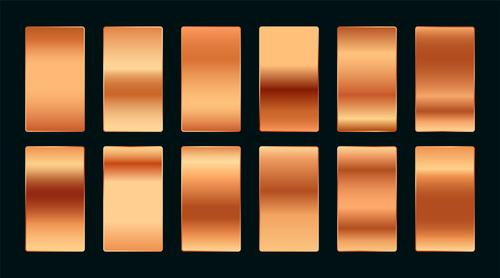 Copper rose gold premium gradient swatches palette set vector