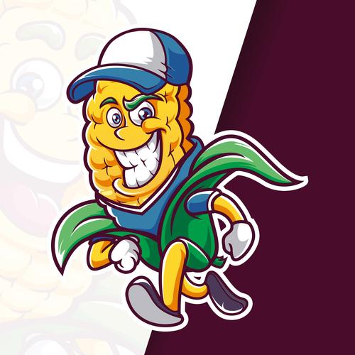 Corn mascot running logo vector