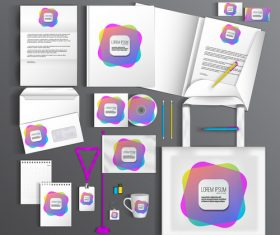 Corporate stationery collection vector