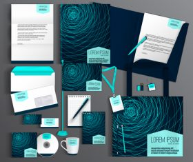 Creative cover corporate stationery collection vector