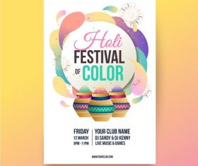 Creative holi festival color poster vector