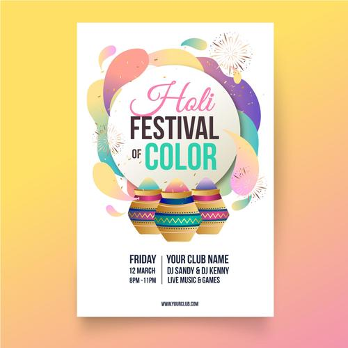 Creative holi festival color poster vector