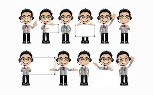 Customer service People with different poses vector