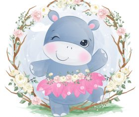Cute animal in flower frame watercolor illustration vector