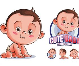 Cute baby collection cartoon vector
