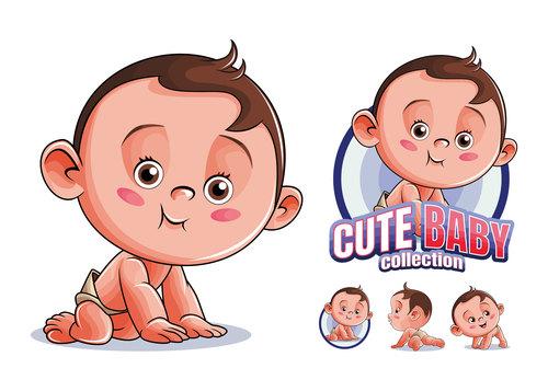 Cute baby collection cartoon vector