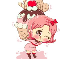 Cute cartoon girl carrying cake vector