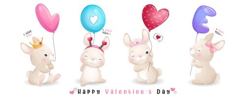 Cute doodle bunny vector