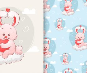 Cute rabbit hand drawn seamless cartoon pattern vector
