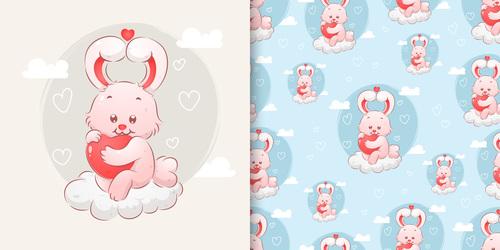 Cute rabbit hand drawn seamless cartoon pattern vector