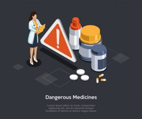 Dangerous medicines warning vector
