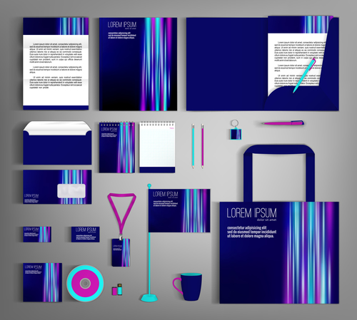 Dark cover corporate stationery collection vector