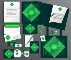 Dark green cover corporate identity stationery collection vector