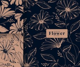 Dark vintage floral pattern collection vector