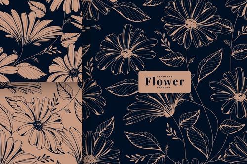 Dark vintage floral pattern collection vector