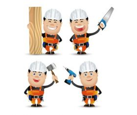 Decoration worker cartoon vector