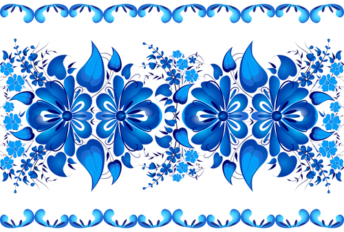 Decorative pattern blue flower background vector