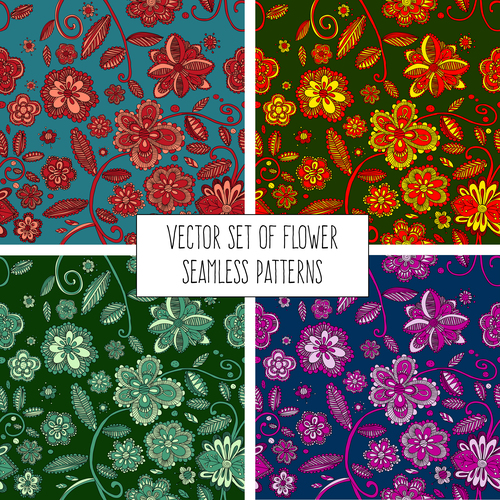 Decorative pattern flowers seamless backgrounds vector