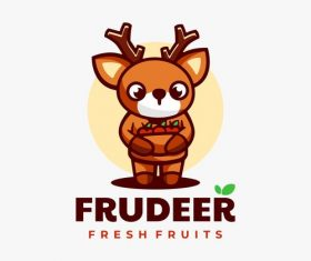 Deer cartoon vector collecting fresh fruits