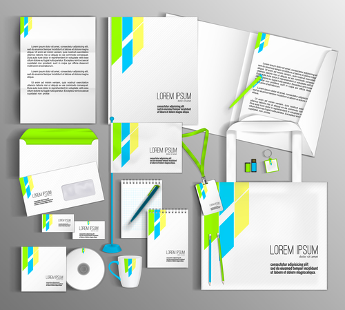Design corporate identity stationery collection vector