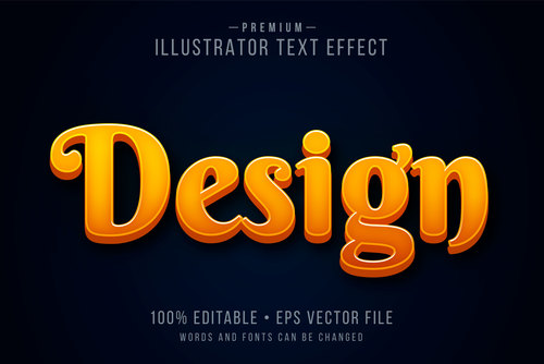 Design words and fonts 3d text style vector