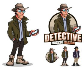 Detective cartoon design vector