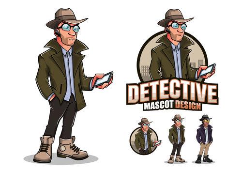 Detective cartoon design vector